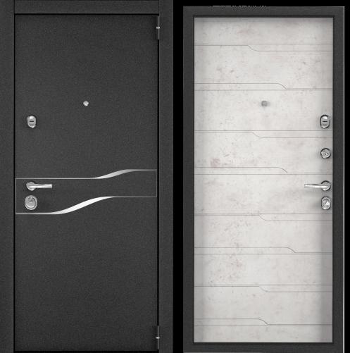 Дверь SUPER OMEGA 100 (860,2050,R,черный муар металлик,SP-15,КТ Белый,SO-HT-7,хром,НАКЛ,-,-)
